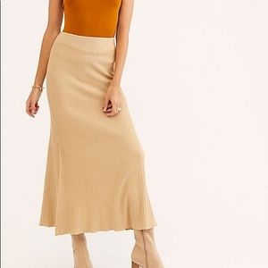 NWT FP ribbed maxi knit pull on skirt